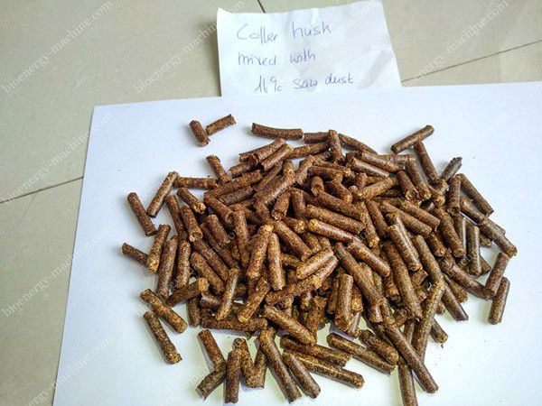 Pellets made from coffee husk mixed with 10 percent sawdust